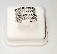 Dainty Casual Bezel Set CZ & Beaded Sterling Silver 4 Row Knuckle Band Ring