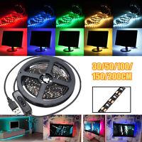 30/50/100/150/200CM 5V 3528 LED USB + Switch TV Background Luz Tira Impermeable