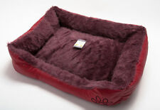 Dog Puppy Cat Kitten Pet Bed Cushion Basket Mat Fur Lined Leather Look Red S