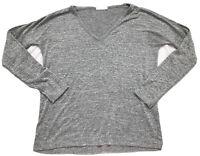 Rag & Bone/JEAN Shirt/Top-Women S- Gray-Long Sleeve-V-neck-T-Shirt/Tee-loose fit
