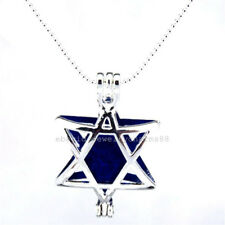 L26 Bright Silver Big Star of David Locket Necklace Pearl Cage Pendant