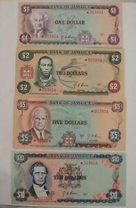 Jamaica - 1977 - 4pc. Star Note Set - $1-$2-$5-$10 - Gem Uncirculated