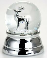 Snow Globe With Reindeer-- Silver Plated And Anti-tarnish Protection - 2 5/8in