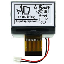 Graphic LCD Module Display,128x64 Serial SPI white on Black w/Tutorial,Connector