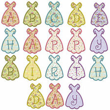In-The-Hoop Dress Banner * Alphabet * Machine Applique Embroidery Patterns