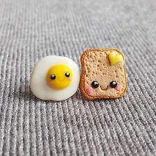 Handmade Polymer Clay Miniature Food Egg on Toast Funny Kawaii Earrings Jewelry
