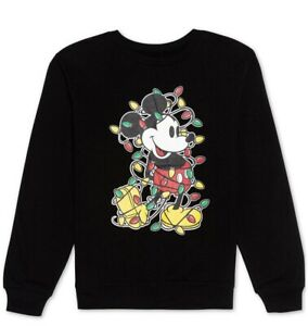 Disney Juniors Christmas Lights Mickey Mouse Sweatshirt Size Medium