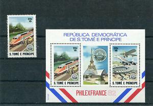 S. Tomé E Príncipe Block 90 und Mi.-Nr. 762 postfrisch Thema Eisenbahn - b7903