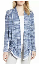 NIC+ZOE Womens Sweater Blue Petite Med  Sand Dunes Open Front Cardigan $158