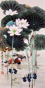 ORIGINAL ASIAN ART CHINESE FAMOUS WATERCOLOR PAINTING-Mandarin duck&Lotus flower