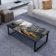 Tavolino rettangolare da salotto tavolo caffè con vetro stampato