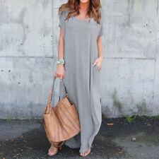 ZANZEA Women T-Shirt Long Maxi Dress Split Evening Party Shirt Dress Summer Plus