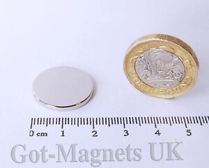 20x2 Strong Neodymium Magnet 20mm dia x 2mm N52 Disc (various pack sizes)