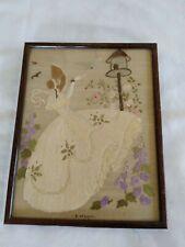 More details for vintage crinoline lady hand embroidered framed picture panel 1940's