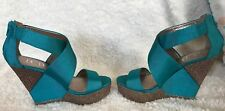BCBG Teal /Turquoise Wedges Size 10B Paris Rando Wedge Sandal