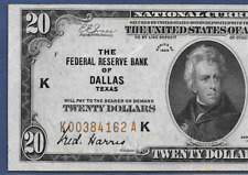 """KEY"" NOTE 1929 $20 FRBN ♚♚ DALLAS ♚♚   PCGS EXTREMELY  FINE 45 PPQ"