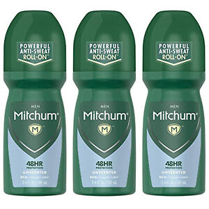 3-New Mitchum Invisible Anti-Perspirant & Deodorant Roll-On, Unscented 3.4 oz