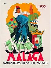 1955 Malaga Spain Vintage Spanish Travel Wall Decor Advertisement Poster Print