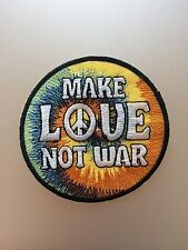 Make Love Not War Patch - Iron On - Hippy Hippie Cute Peace Tye Dye Embroidered