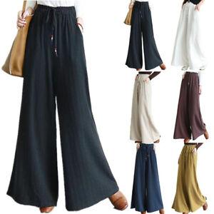 Women's Elastic Waist Wide Leg Trousers Baggy Pants Ladies Summer Casual Palazzo