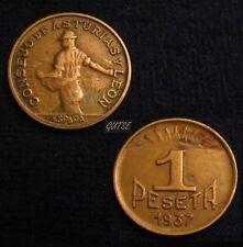 *GUTSE*51-CONSEJO DE ASTURIAS Y LEÓN, 1 PESETA 1937, GUERNICA, MBC+