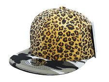 NUOVO completo Leopard CAMOUFLAGE Piatto Picco Snapback Protettore Cappello Cappellino Baseball SWAG DOPE..