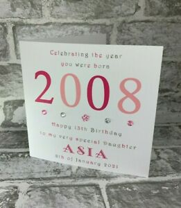 """13th 2008 Year You Were Born 6"""" Birthday Card Personalised Daughter Sister Niece"""