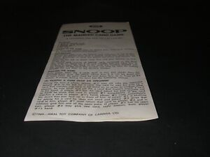 Vintage Snoop Marked Card Game 1965 by Ideal Toy Replacement Rules Bilingual