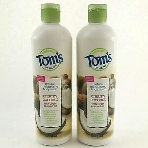 2 Pack Tom's of Main Creamy Coconut Body Wash Natural Moisturizing 16 Oz Each