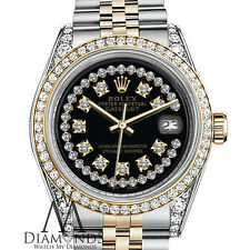 Women's Rolex 31mm Datejust 2 Tone Black String Diamond Accent Dial Watch