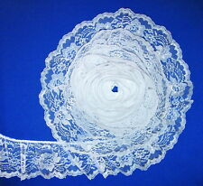 White/Silver~4 Inch Wide Ruffled Floral Lace Trim~By 5 Yards