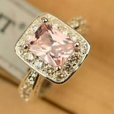 Dazzling Pink Crystal AAA Zircon Princess Ring Women 925 Silver Wedding Jewelry