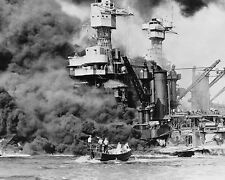 USS West Virginia battleship burns after attack on Pearl Harbor WWII Photo Print