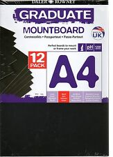 DALER ROWNEY A4 BLACK MOUNT BOARD 12 SHEETS PICTURE PHOTO BACKING MOUNTING FRAME