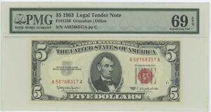 1963 $5 Legal Tender FR#1536 PMG 69 EPQ Superb Gem