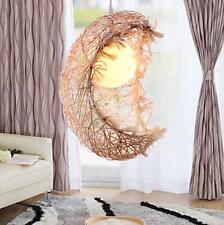 Rustic Moon Pendant Light Rattan Shade Hanging Lighting Art Decor Living Bedroom