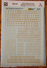 Microscale Decal HO #90128 Stencil Railroad Roman - Alphabet & Numbers - Dulux H