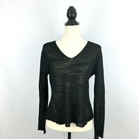 EILEEN FISHER women's sz S knit top - black semi-sheer long-sleeve v-neck small
