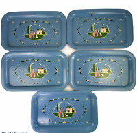Vintage Metal Blue Tray House Woman Bonnet Lamb Country Party Snack Trays Set 5
