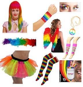 Women Rainbow Clown Skirt, Lashes, Wings Hen Night Fancy Dress Accessories