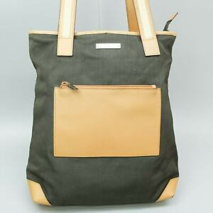 GUCCI Nylon Leather Tote Bag Shoulder Purse Brown 019 0457 1705