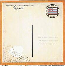 Sc - Kauai Hawaii Postcard Scrapbooking Paper - 1 sheet - Vintage 36432