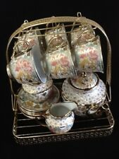 15pc Tea Set Pot 6 Cups 6 Saucers Rack Milk Sugar Bowl 6 FREE Spoons 7 oz Cup