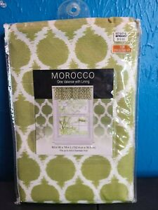 Green And White Morocco Valance (1) With Lining (60inW x 14inL) NEW