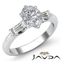 Fine Oval Cut Three Stone Diamond Engagement Ring GIA I VS2 14k White Gold 1.3ct