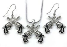 Western Cowgirl Dual Revolver Pistol Gun Pendant Necklace Dangle Earrings Set b1