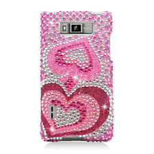 For LG Optimus Showtime Crystal Diamond BLING Hard Case Phone Cover Pink Hearts
