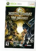 Mortal Kombat VS DC Universe Xbox 360 MANUAL ONLY Authentic
