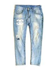 Cc Logo Denim Distressed Jeans