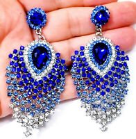 Ombre Blue Chandelier Earrings Rhinestone Austrian Crystal 3.1 in